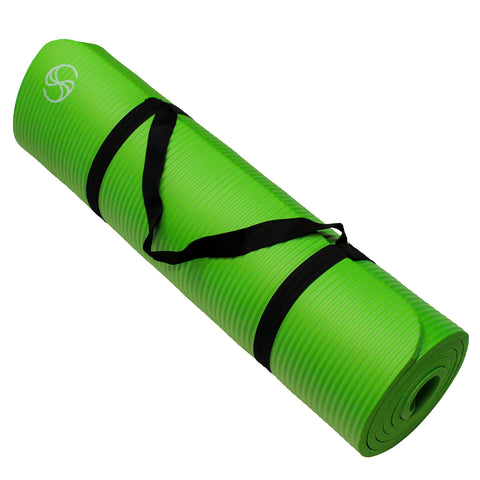Eco-Friendly Yoga Mats 72 x 24 x 1/2-Inch Extra Thick /w Carrying Strap Green