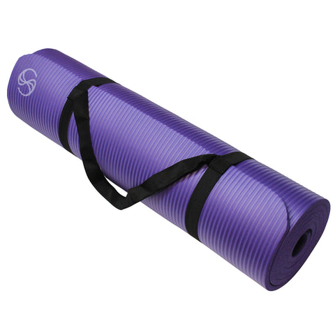 Eco-Friendly Yoga Mats 72 x 24 x 1/2-Inch Extra Thick /w Carrying Strap Purple