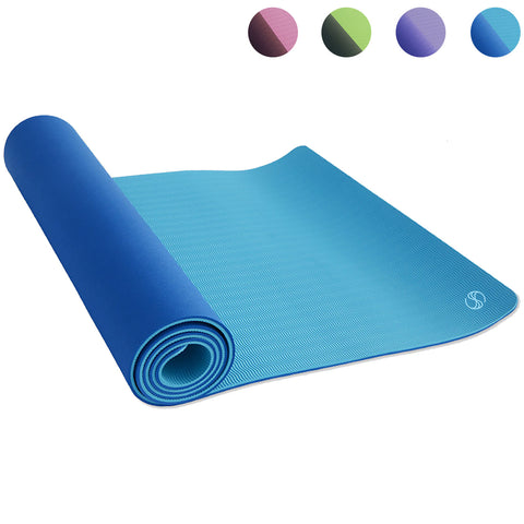 SOBEYO TPE Yoga Mats Double Layers Eco-Friendly 1/4 inch Pro Blue