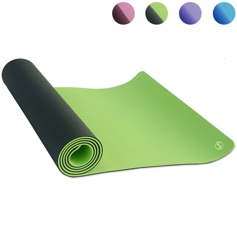 Yoga Mats Double Layers Eco Friendly TPE 1/4 inch Pro Non Slip Workout  Pilates Floor Exercises Green SOBEYO