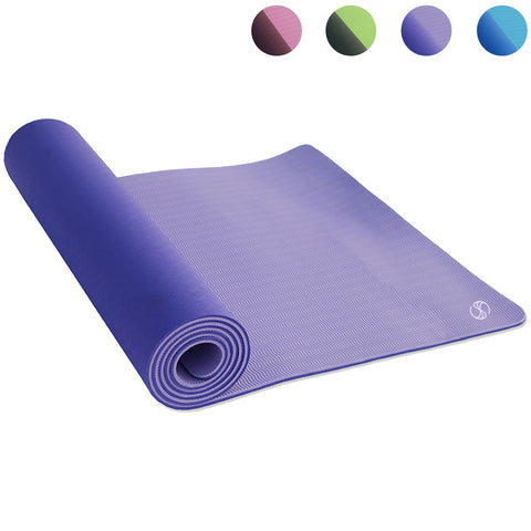 SOBEYO TPE Yoga Mats Double Layers Eco-Friendly 1/4 inch Pro Purple