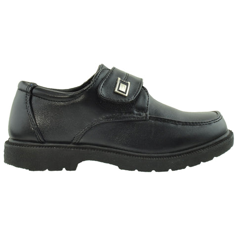 Boys Dress Shoes Monk Strap Buckle Accent Closed Toe Shoes Black