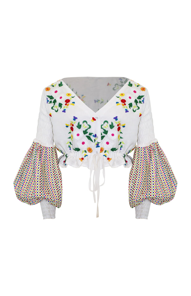 Load image into Gallery viewer, Carmelita Top - All Things Mochi - long sleeved floral top (white, front)