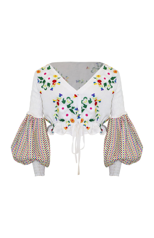 Carmelita Top - All Things Mochi - long sleeved floral top (white, front)