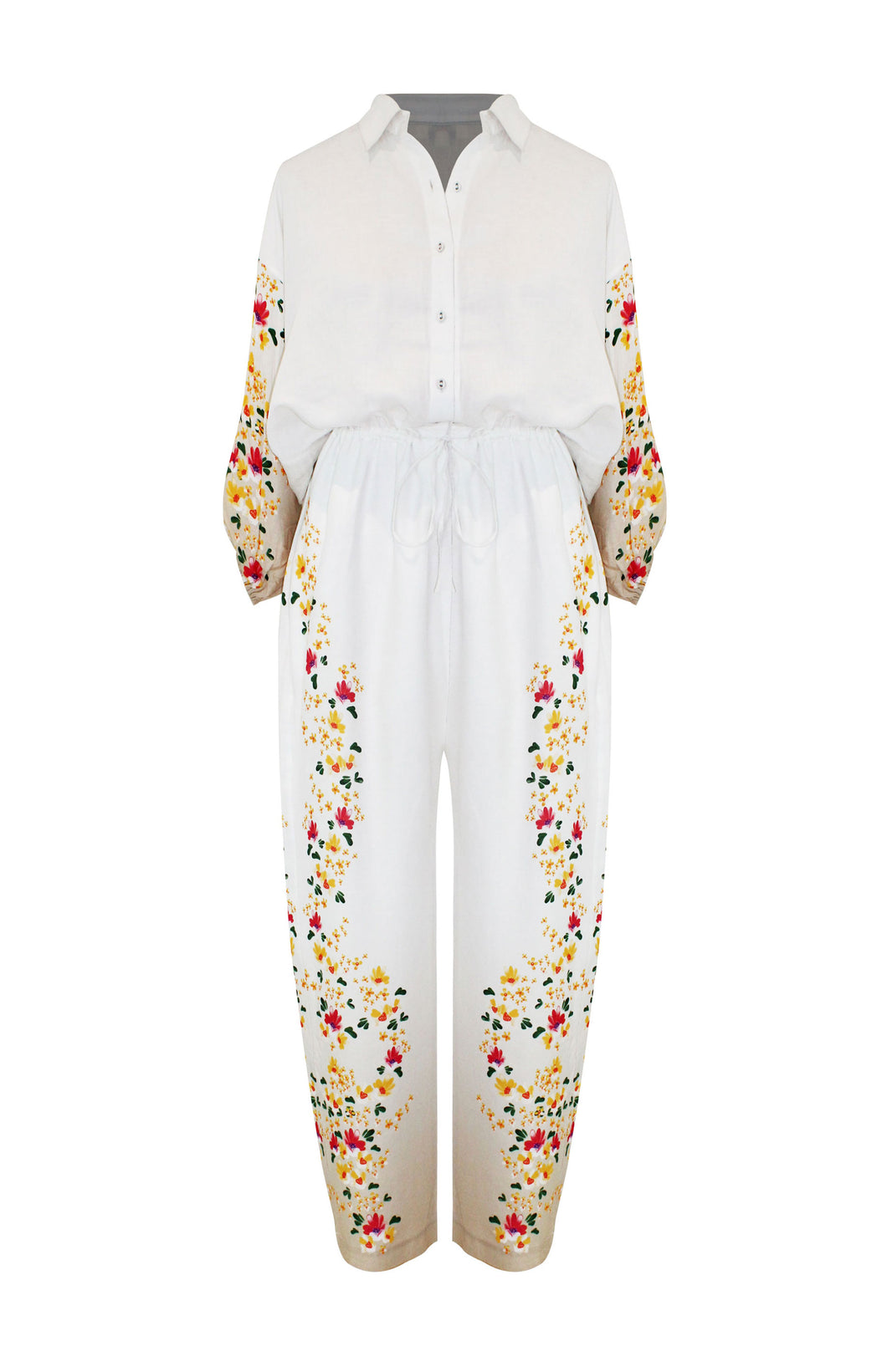 Denny Jumpsuit - All Things Mochi - beige jumpsuit with floral print (front)