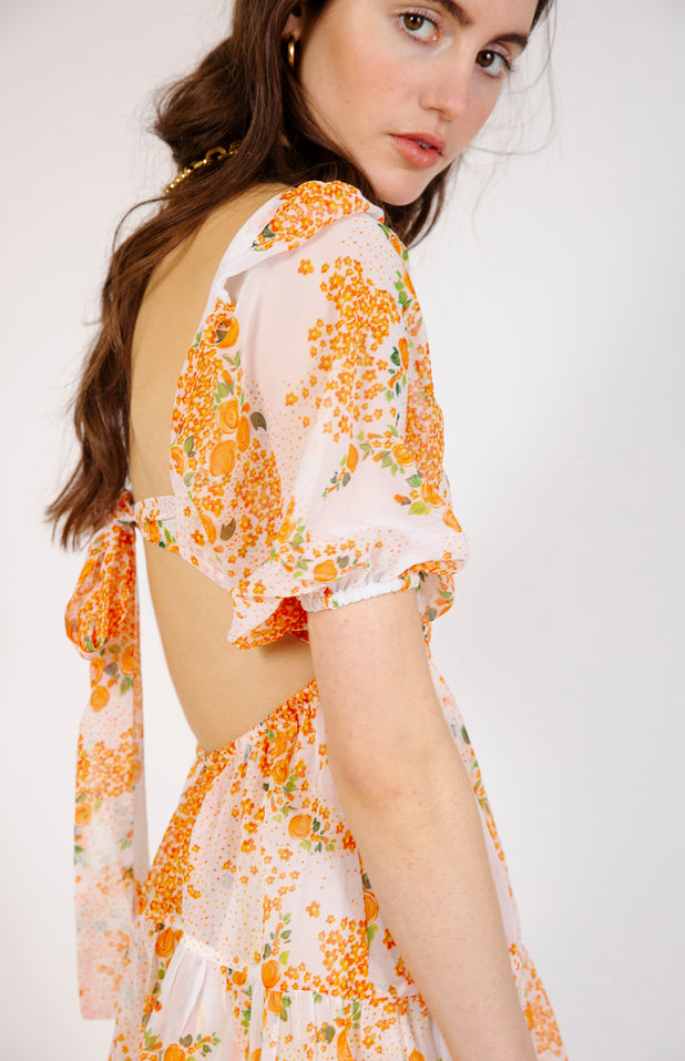 Load image into Gallery viewer, Diwata Dress - All Things Mochi - orange floral mini dress