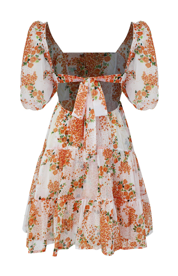 Load image into Gallery viewer, Diwata Dress - All Things Mochi - orange floral mini dress (back)