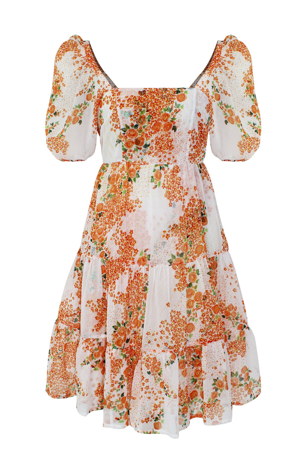 Load image into Gallery viewer, Diwata Dress - All Things Mochi - orange floral mini dress (front)
