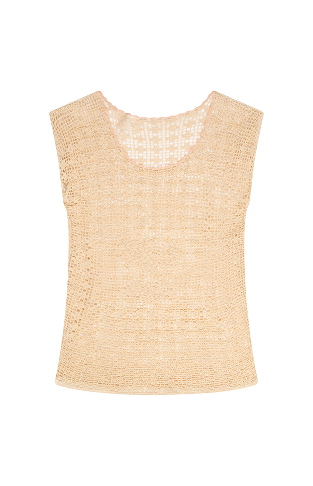 All Things Mochi - Cathy Top - beige vintage knit top