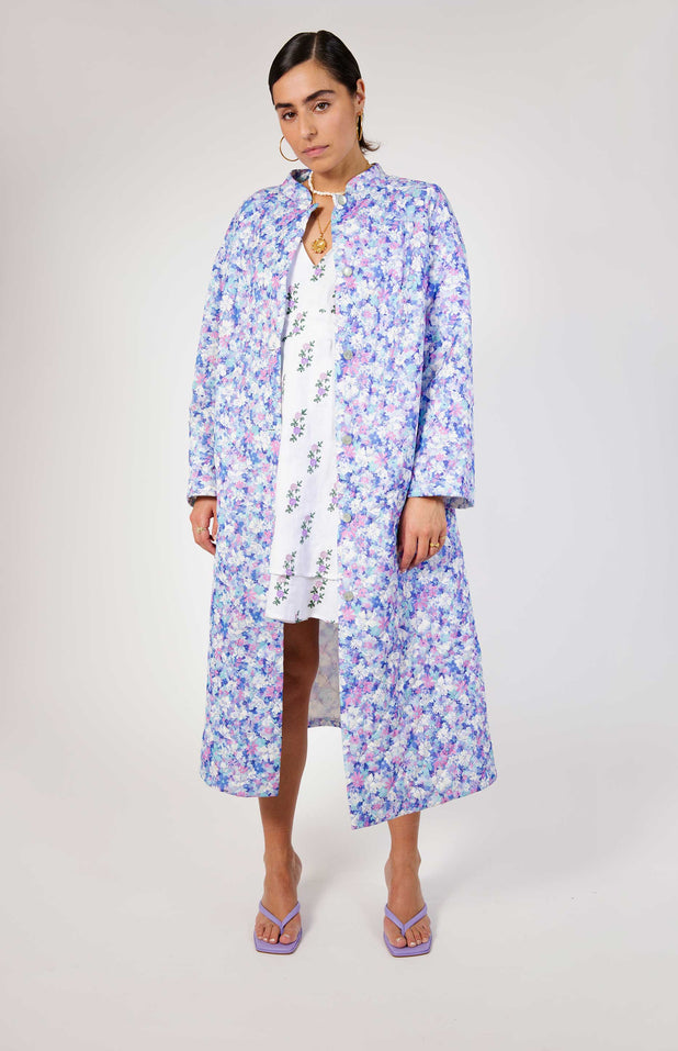 Load image into Gallery viewer, All Things Mochi - Fila Robe - purple flower print jacket