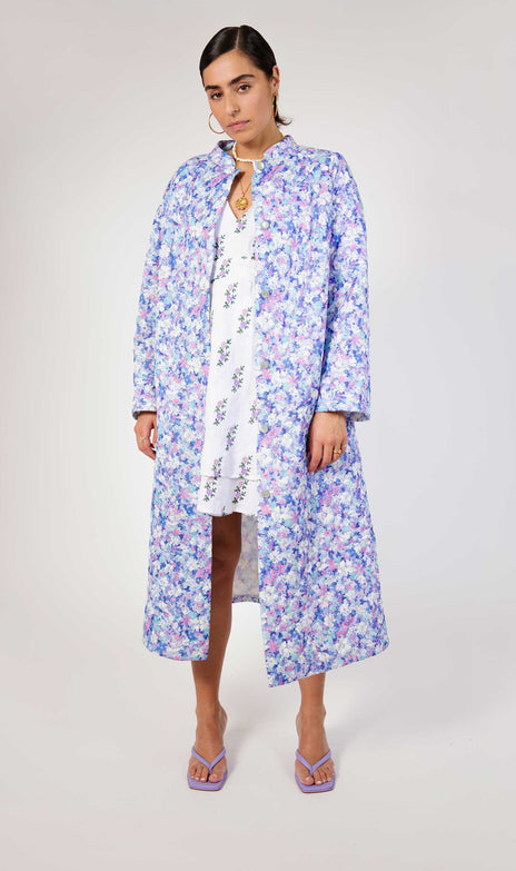 All Things Mochi - Fila Robe - purple flower print jacket