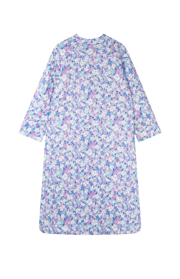 Load image into Gallery viewer, All Things Mochi - Fila Robe - purple flower print jacket (back)