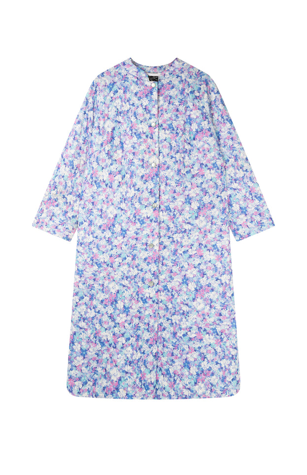 All Things Mochi - Fila Robe - purple flower print jacket (front)