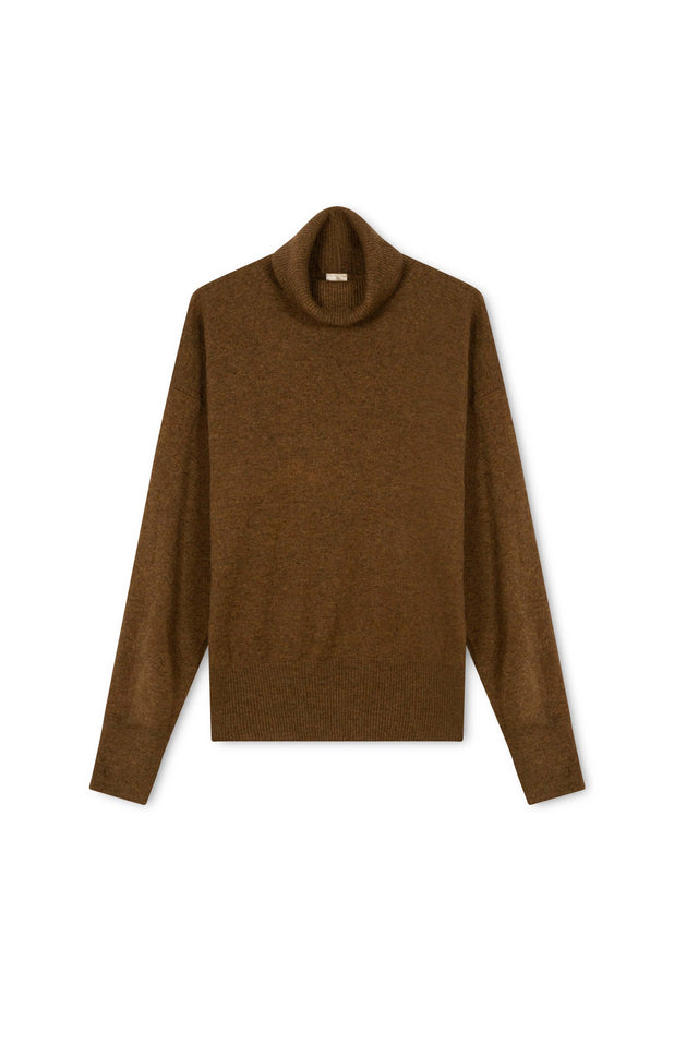 Load image into Gallery viewer, Cheyen Turtleneck - All Things Mochi - brown wool turtleneck (front)