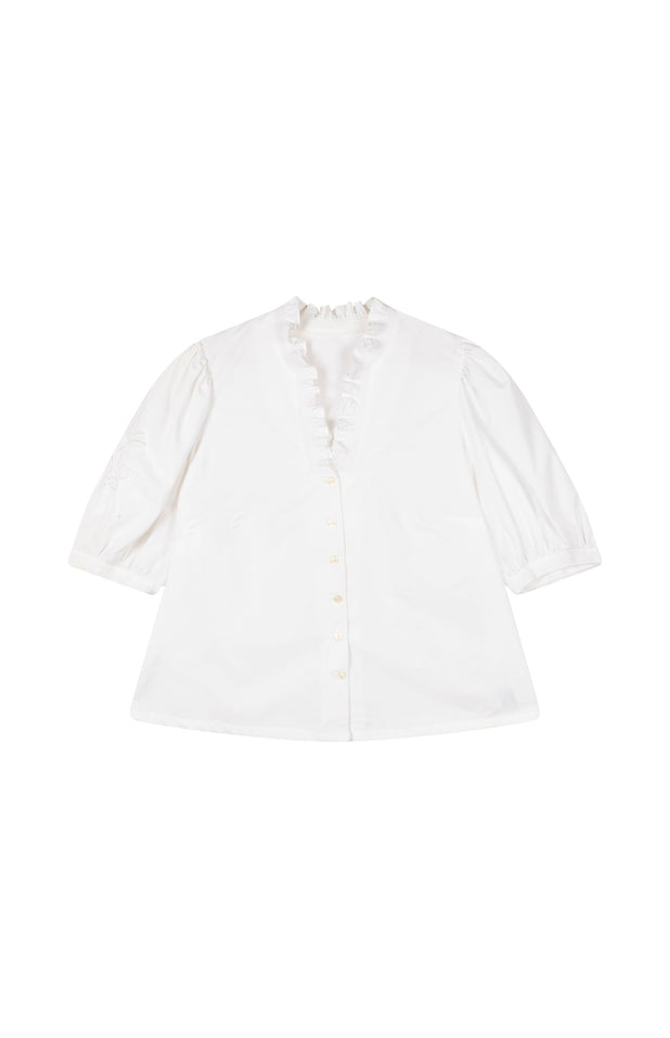 Load image into Gallery viewer, All Things Mochi - Lila Blouse - white vintage blouse (front)