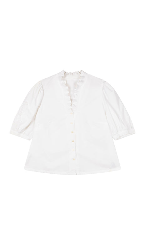 All Things Mochi - Lila Blouse - white vintage blouse (front)