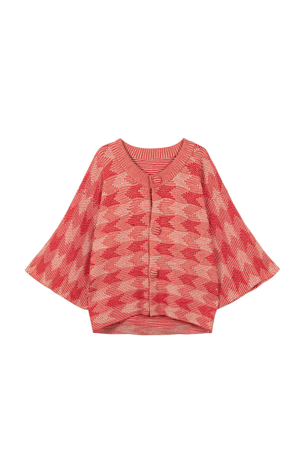 Load image into Gallery viewer, Lilly Cardigan - All Things Mochi - red/beige vintage cardigan (front)