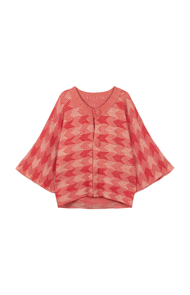 Lilly Cardigan - All Things Mochi - red/beige vintage cardigan (front)