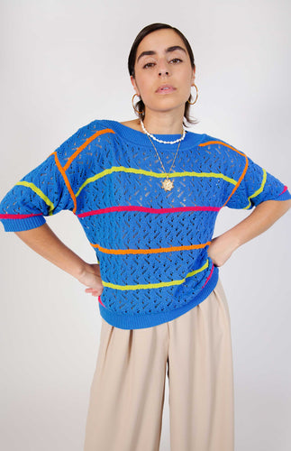 All Things Mochi - Priscilla Top - vintage blue knitted top