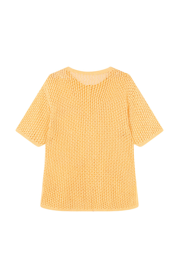 All Things Mochi - Tara Top - vintage yellow knit top (back)