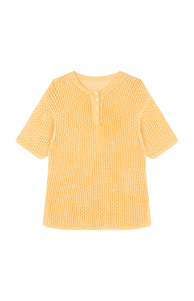 Load image into Gallery viewer, All Things Mochi - Tara Top - vintage yellow knit top (front)
