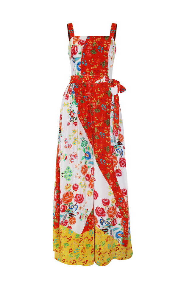 Load image into Gallery viewer, Gracia Jumpsuit - All things Mochi - floral sleeveless jumpsuit (red)