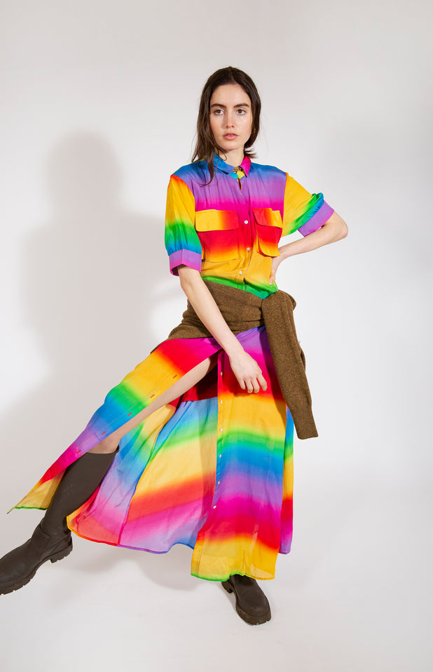 Load image into Gallery viewer, Iska Dress with rainbow print - All Things Mochi - rainbow dress