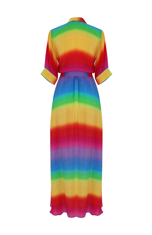 Load image into Gallery viewer, Iska Dress with rainbow print - All Things Mochi - rainbow dress (back)