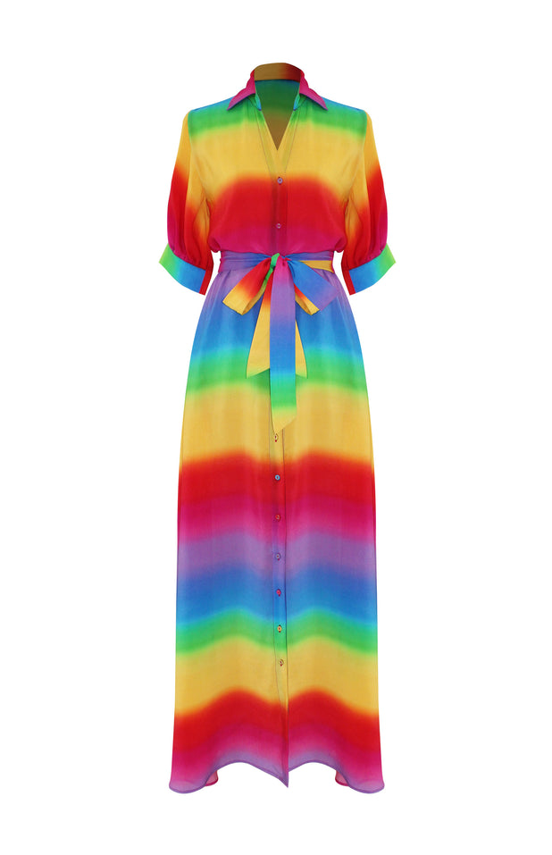Load image into Gallery viewer, Iska Dress with rainbow print - All Things Mochi - rainbow dress (front)