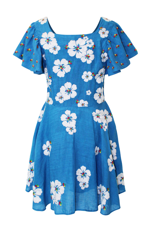 Load image into Gallery viewer, Floral blue mini dress - All Things Mochi - Kay Dress (back)