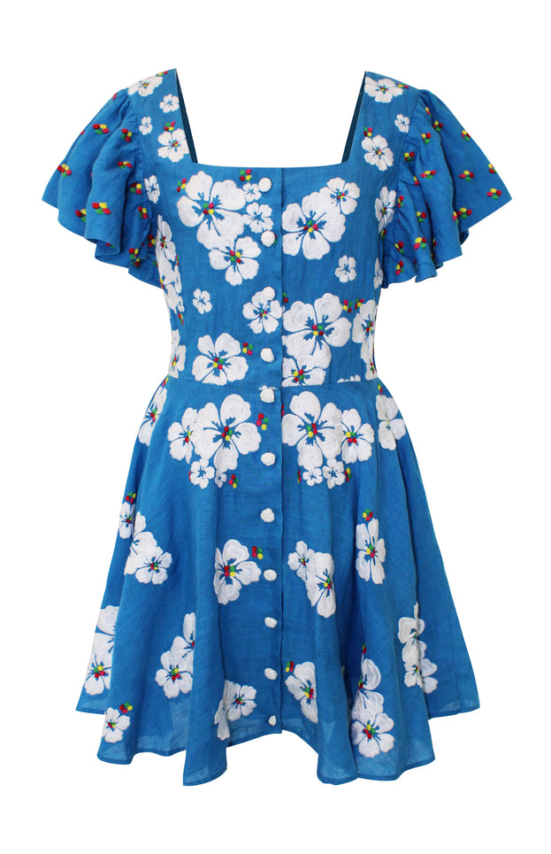 Floral blue mini dress - All Things Mochi - Kay Dress (front)