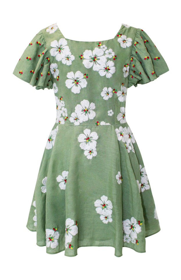 Floral green mini dress - All Things Mochi - Kay Dress (back)