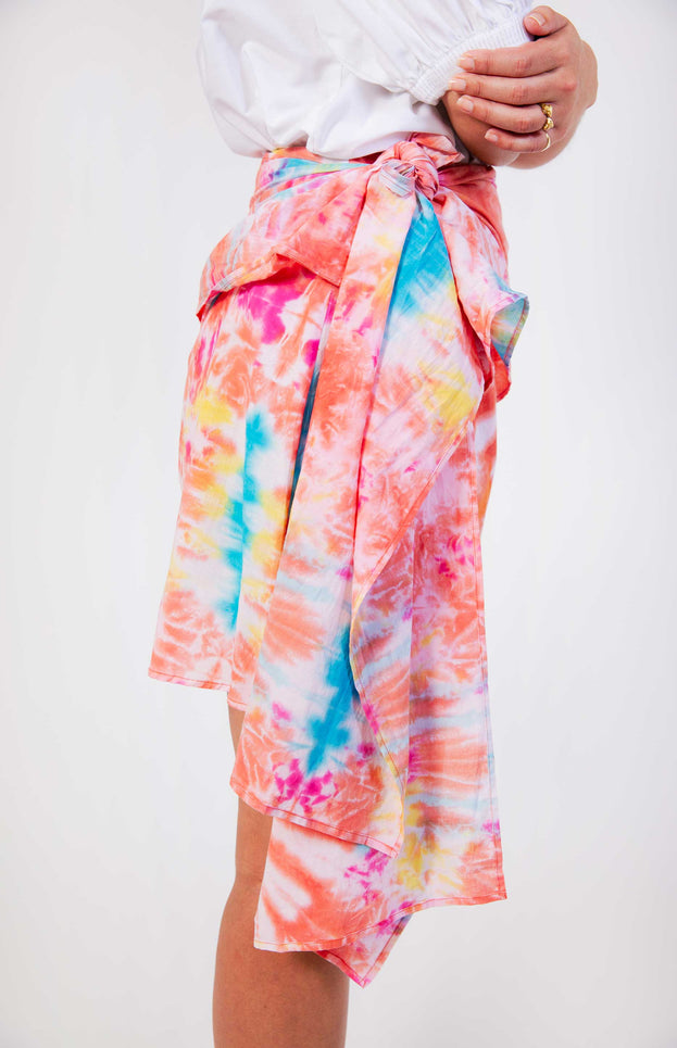 All Things Mochi - Mabel Skirt - tie dye print mini-skirt with wrap detail