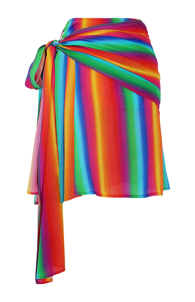 All Things Mochi - Mabel Skirt - rainbow print mini-skirt with wrap detail