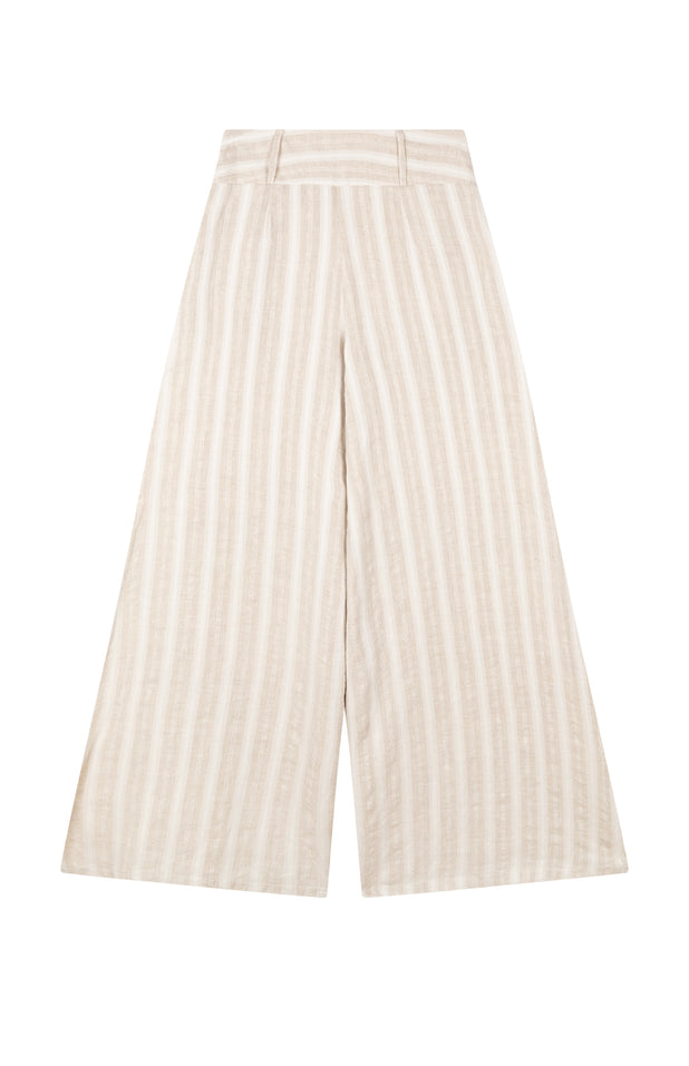 Load image into Gallery viewer, All Things Mochi - Mariam Pants - beige linen pants wide leg (back)