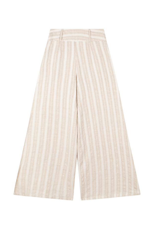 All Things Mochi - Mariam Pants - beige linen pants wide leg (back)