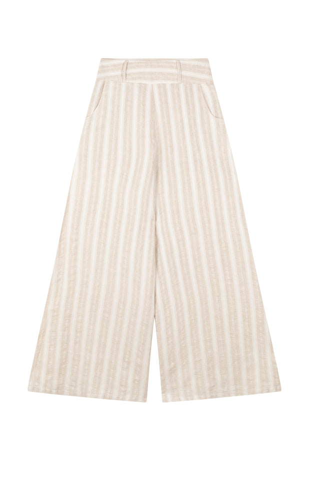 Load image into Gallery viewer, All Things Mochi - Mariam Pants - beige linen pants wide leg (front)