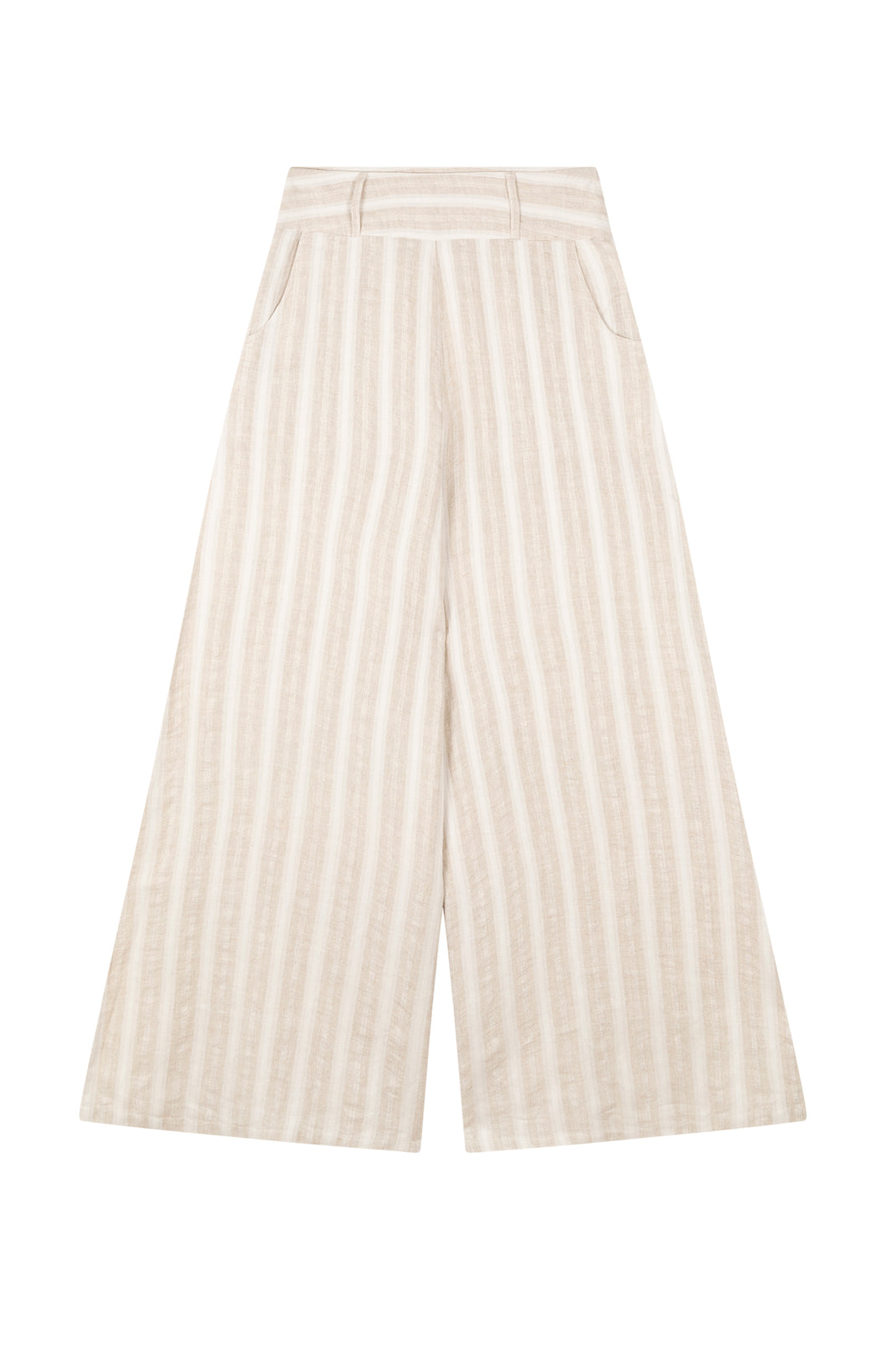All Things Mochi - Mariam Pants - beige linen pants wide leg (front)