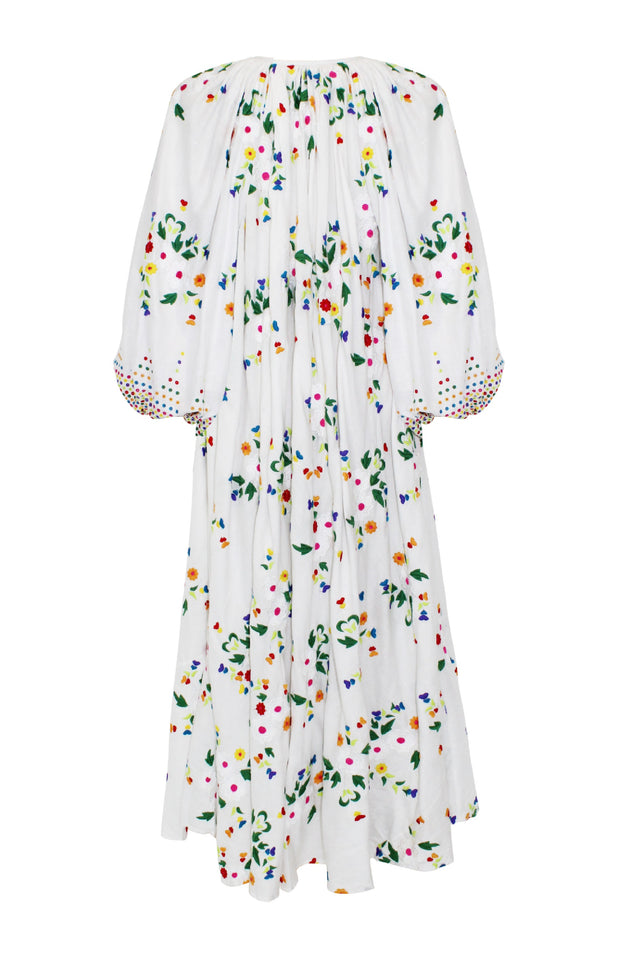 Load image into Gallery viewer, Nimi Dress - All Things Mochi - white floral dress (back)