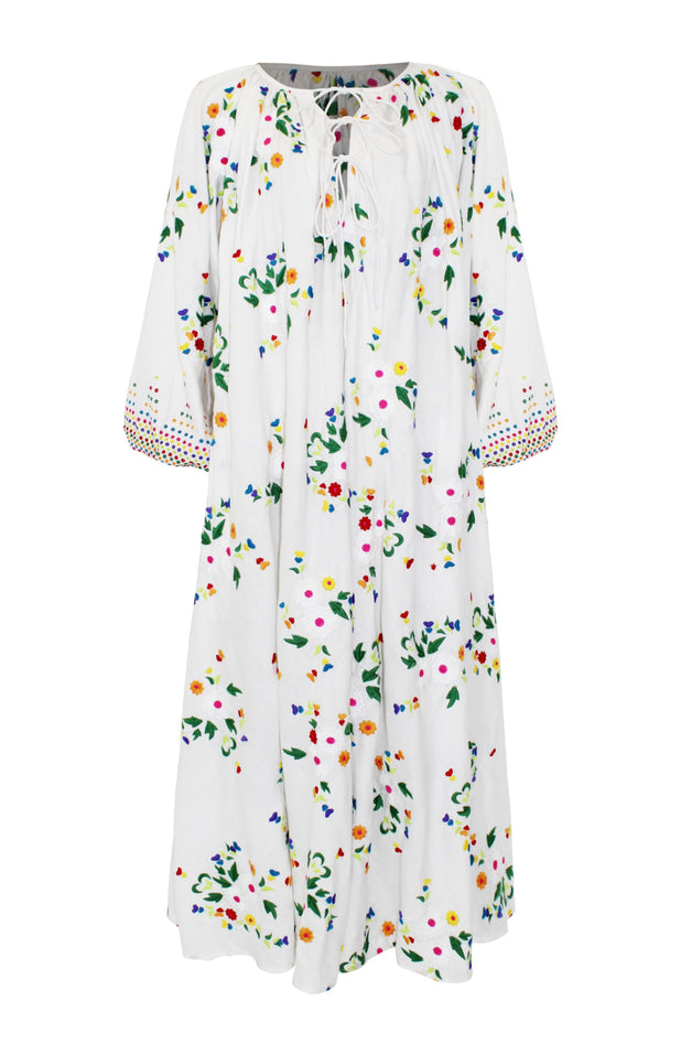 Load image into Gallery viewer, Nimi Dress - All Things Mochi - white floral dress (front)