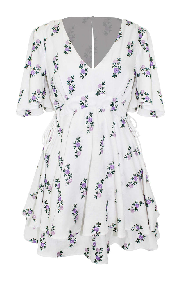 All Things Mochi - Sofia Dress - short floral dress (white)