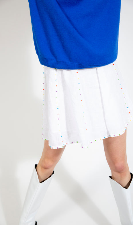 Teddy Skirt - All Things Mochi - white mini skirt