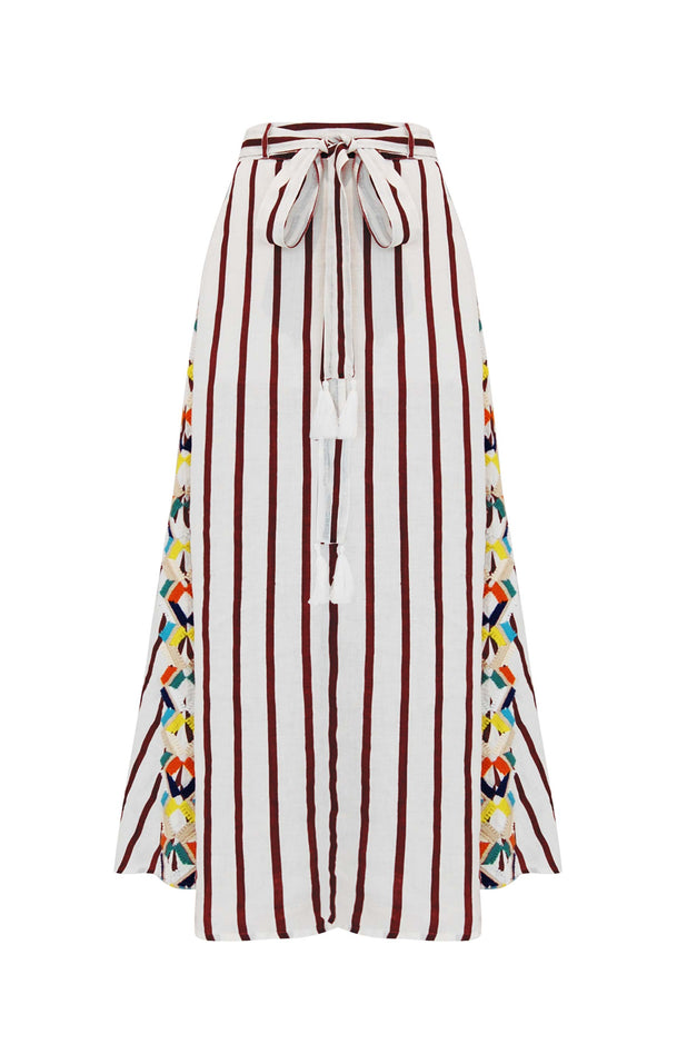 Load image into Gallery viewer, Daphne Skirt - Mochi - Skirt with embroidery (red, front)