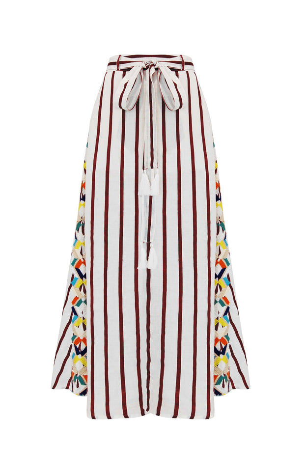 Daphne Skirt - Mochi - Skirt with embroidery (red, front)