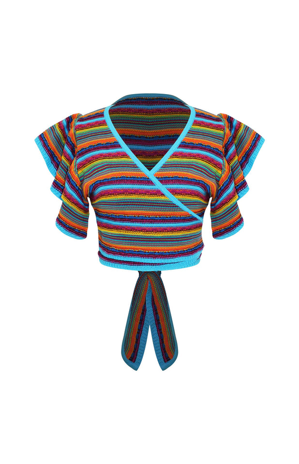Load image into Gallery viewer, Lana Top - Mochi - Multi colored crochet wrap top (front)