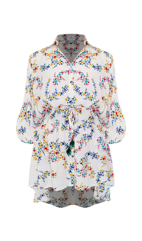Malaya Dress - Mochi - Short White Dress With Overall Floral Print (Front)