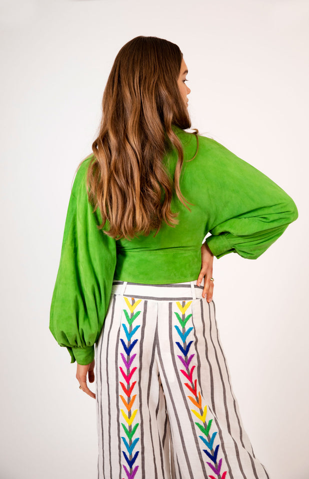 Load image into Gallery viewer, Mariam Pants - Mochi - Wide striped pants with embroidery