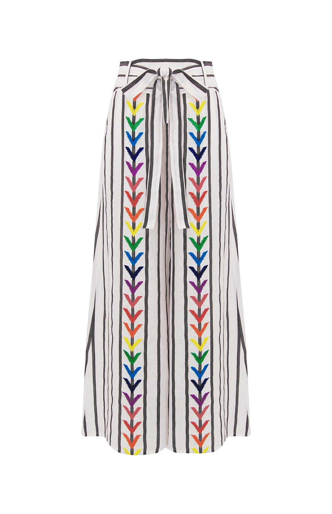 Mariam Pants - Mochi - Wide striped pants with embroidery
