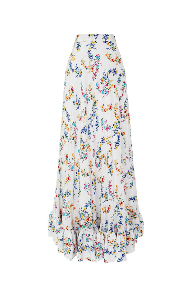 Load image into Gallery viewer, Nadia Skirt - Mochi - White Floral Maxi Skirt (Front)