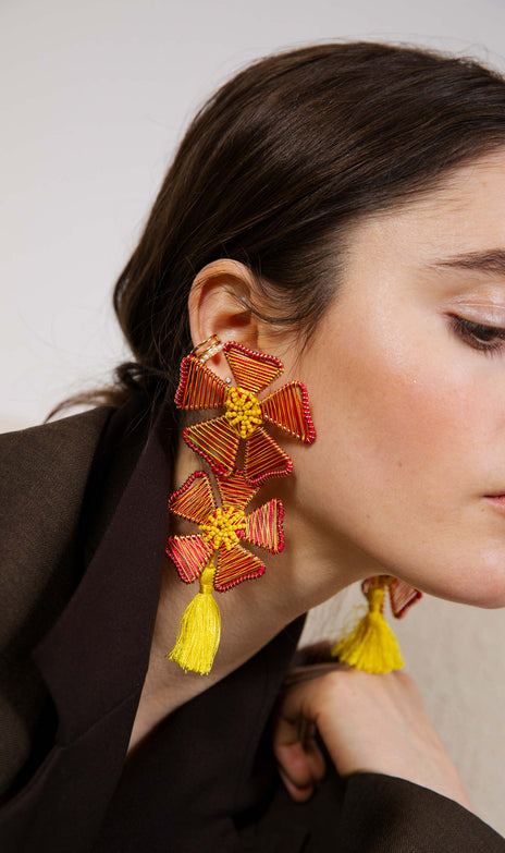 Polly Earrings - Mochi - Floral earrings with tassels